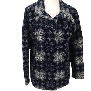 L.L. Bean Sherpa Vintage Jacket Snowflakes Blue